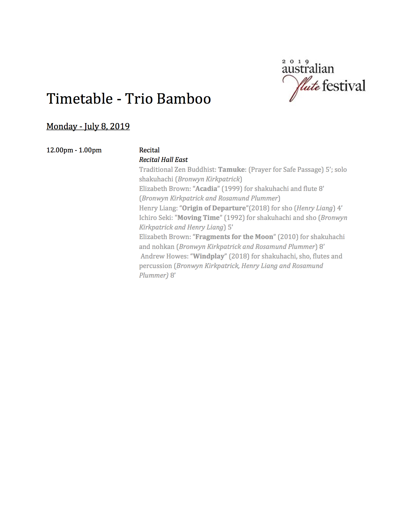 Timetable - Trio Bamboo